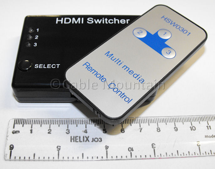 Ultra Slim 3 Way HDMI Remote Control Switcher