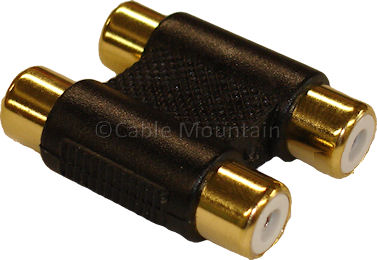Gold Plated Twin 2x RCA Phono Coupler