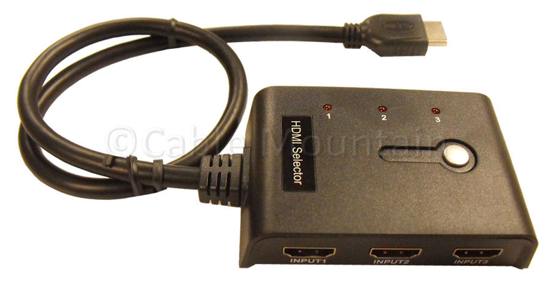 Mini 3 Way Auto HDMI Selector with 0.5m Gold HD Cable