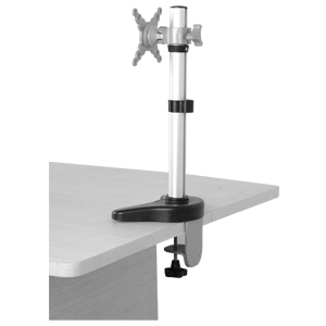Silver Single Screen Flat Screen Monitor Desk Mount with Clamp