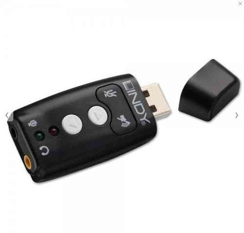 Lindy 42961 USB 2.0 Audio Adapter - Add Earphone and Microphone Capability Via A USB Port